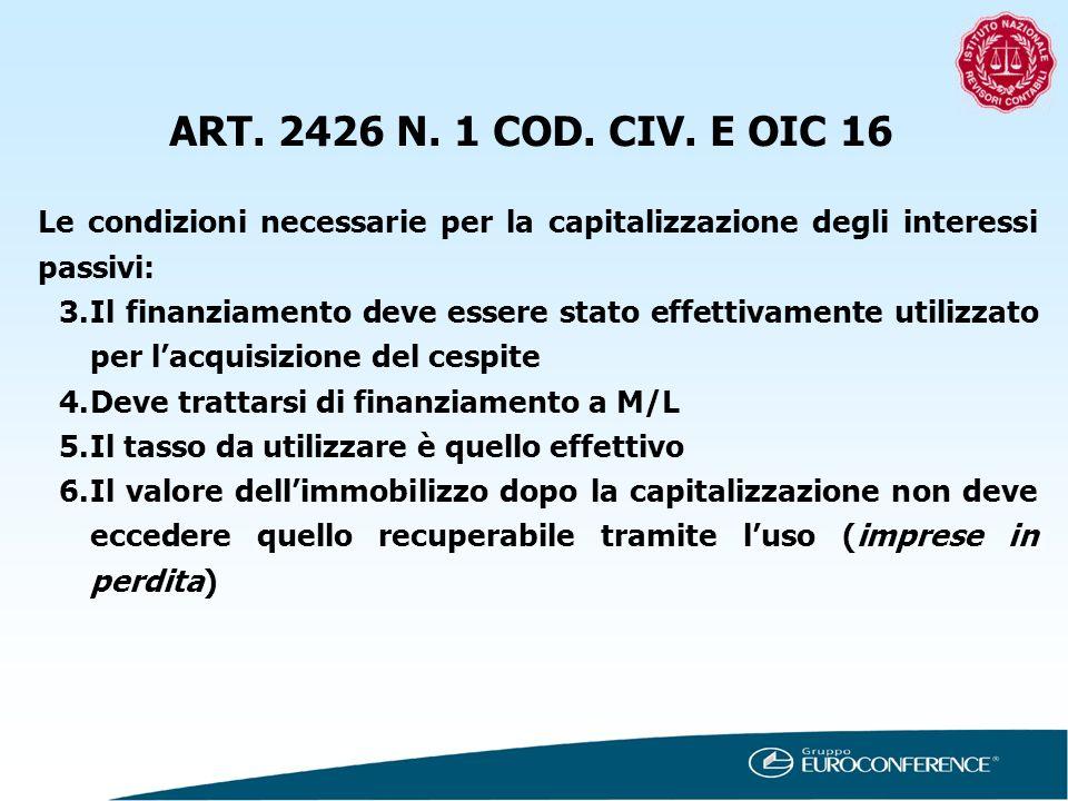 ART. 2426 N. 1 COD. CIV. E OIC 16 Le condizioni necessarie per la capitalizzazione degli interessi passivi: 3.Il finanziamento deve essere stato effet