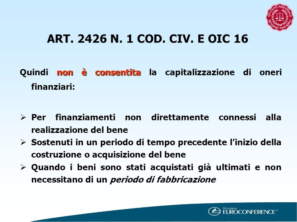 non è consentita Quindi non è consentita la capitalizzazione di oneri finanziari: Per finanziamenti non direttamente connessi alla realizzazione del b