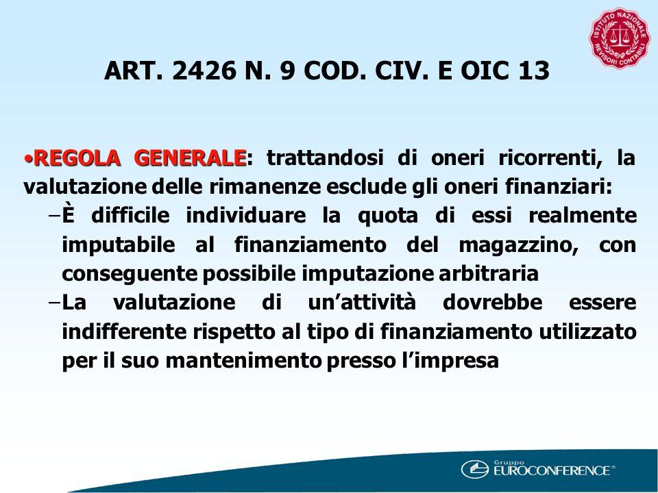 ART. 2426 N. 9 COD. CIV. E OIC 13 REGOLA GENERALEREGOLA GENERALE: trattandosi di oneri ricorrenti, la valutazione delle rimanenze esclude gli oneri fi