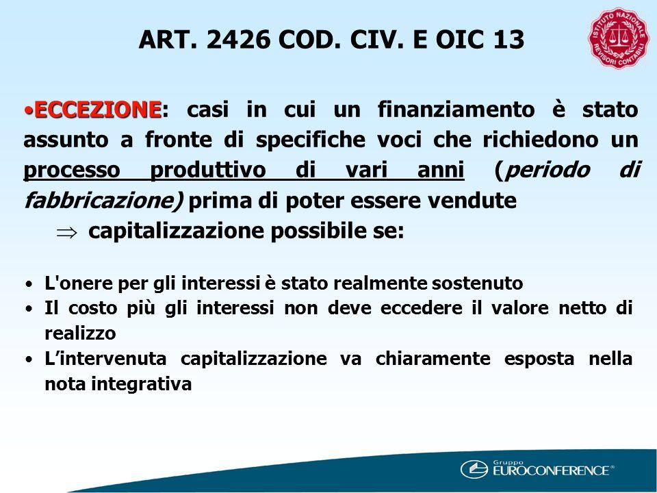 ART. 2426 COD. CIV. E OIC 13 ECCEZIONEECCEZIONE: casi in cui un finanziamento è stato assunto a fronte di specifiche voci che richiedono un processo p