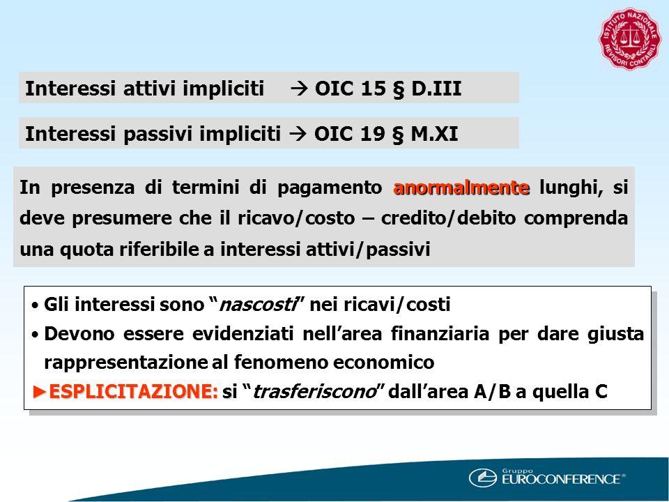 Interessi attivi impliciti OIC 15 § D.III Interessi passivi impliciti OIC 19 § M.XI anormalmente In presenza di termini di pagamento anormalmente lung