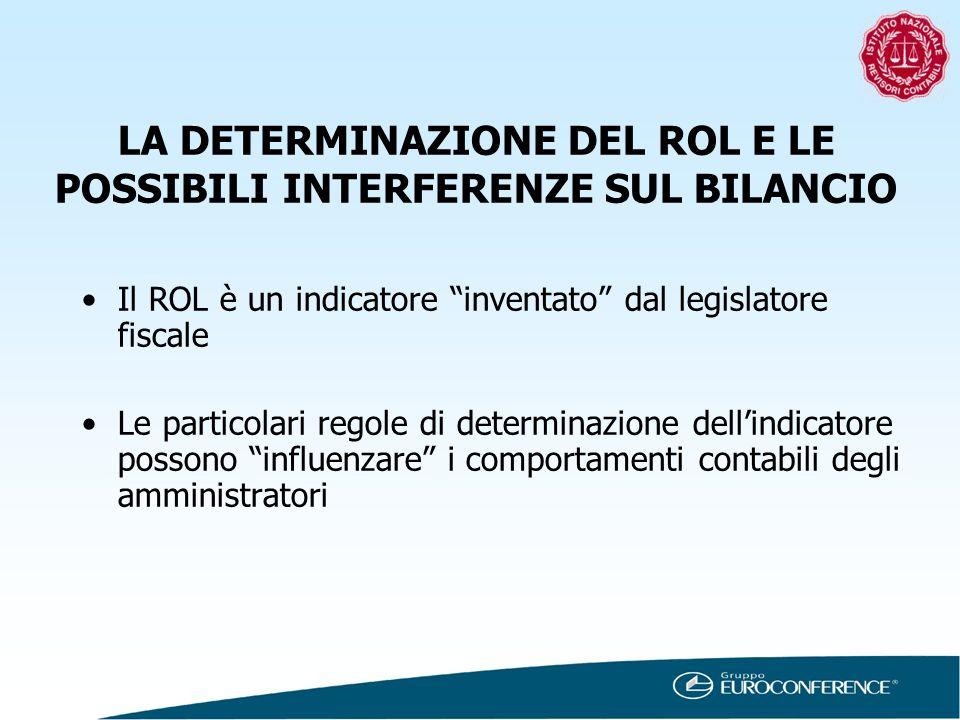 LA DETERMINAZIONE DEL ROL E LE POSSIBILI INTERFERENZE SUL BILANCIO Il ROL è un indicatore inventato dal legislatore fiscale Le particolari regole di d
