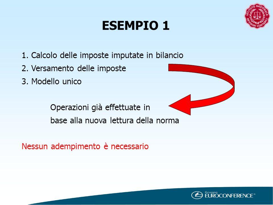 ESEMPIO 1 1. Calcolo delle imposte imputate in bilancio 2. Versamento delle imposte 3. Modello unico Operazioni già effettuate in base alla nuova lett