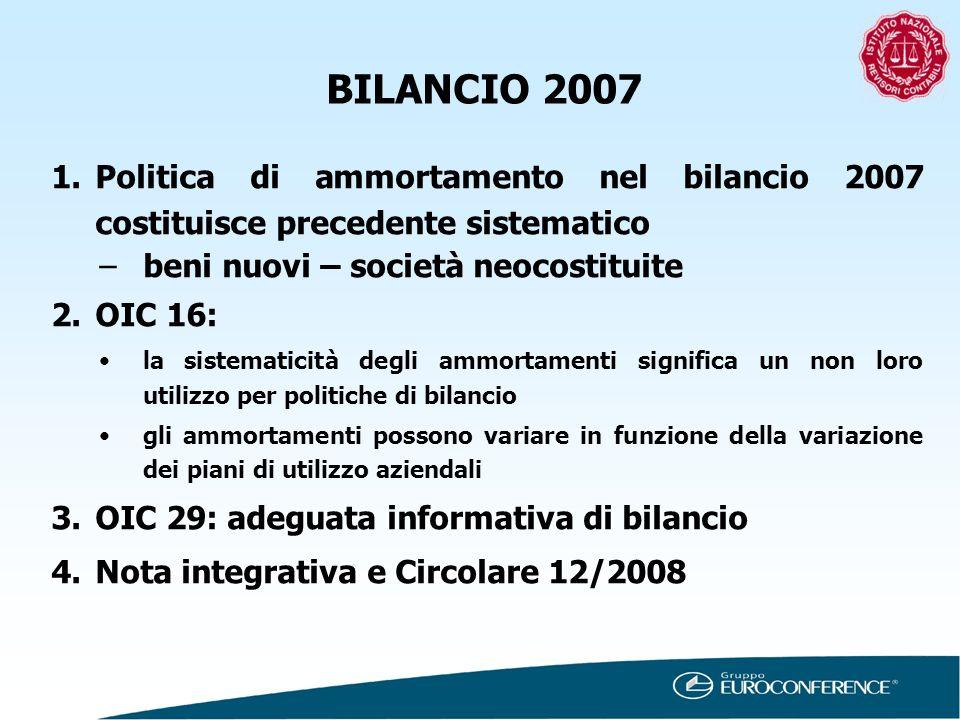 BILANCIO 2007 1.Politica di ammortamento nel bilancio 2007 costituisce precedente sistematico –beni nuovi – società neocostituite 2.OIC 16: la sistema