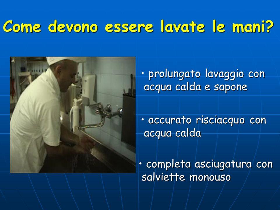 Come devono essere lavate le mani? prolungato lavaggio con acqua calda e sapone acqua calda e sapone accurato risciacquo con acqua calda acqua calda c