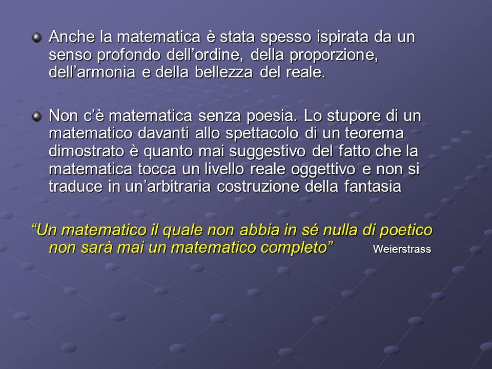 Anche la matematica è stata spesso ispirata da un senso profondo dellordine, della proporzione, dellarmonia e della bellezza del reale. Non cè matemat