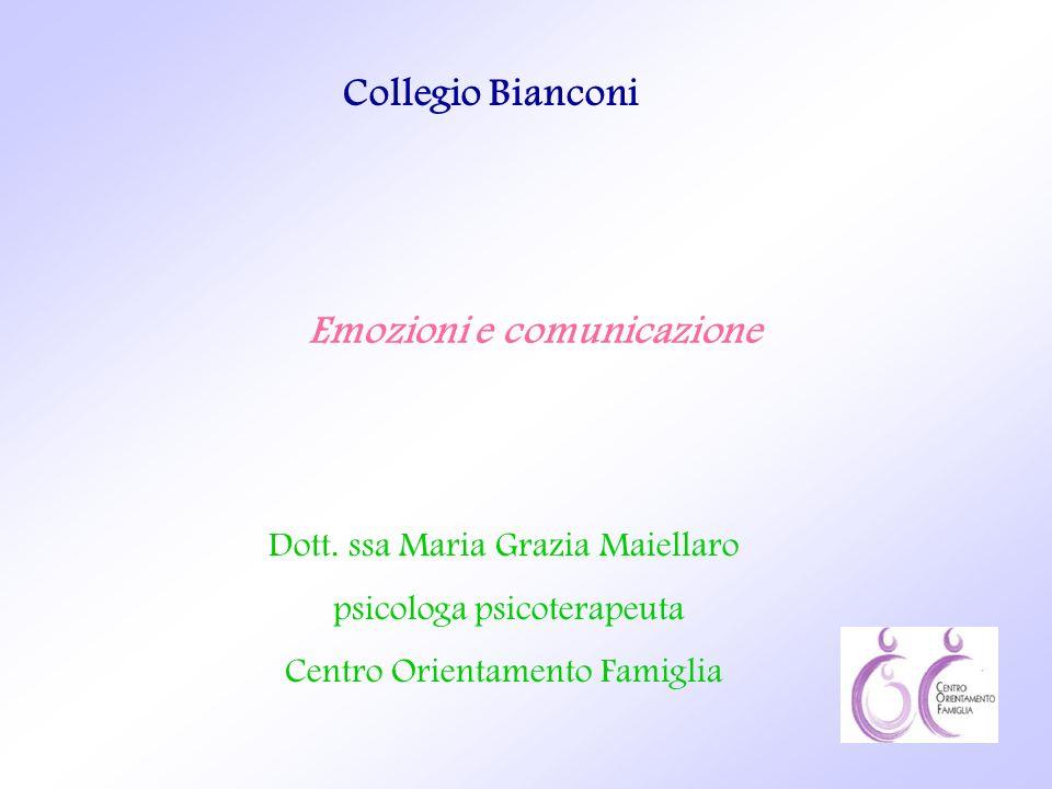 Emozioni e comunicazione Collegio Bianconi Dott. ssa Maria Grazia Maiellaro psicologa psicoterapeuta Centro Orientamento Famiglia