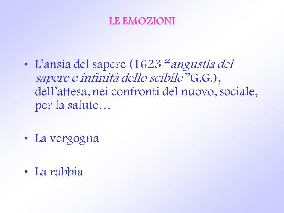 LE EMOZIONI Lansia del sapere (1623 angustia del sapere e infinità dello scibile G.G.), dellattesa, nei confronti del nuovo, sociale, per la salute… L