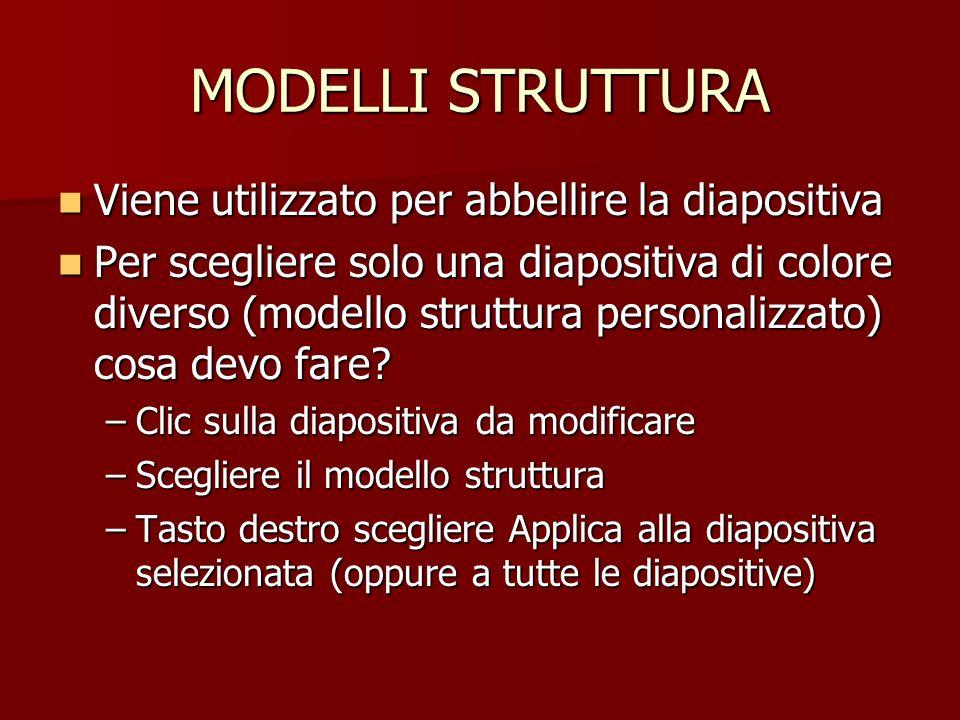 MODELLI STRUTTURA Viene utilizzato per abbellire la diapositiva Viene utilizzato per abbellire la diapositiva Per scegliere solo una diapositiva di co