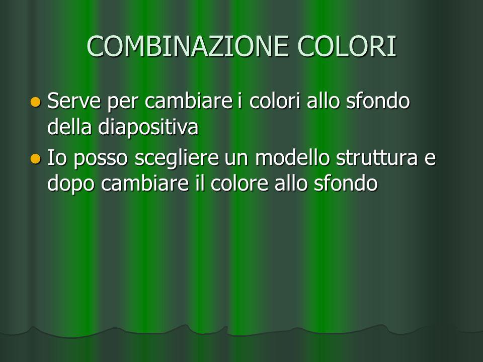 COMBINAZIONE COLORI Serve per cambiare i colori allo sfondo della diapositiva Serve per cambiare i colori allo sfondo della diapositiva Io posso scegl