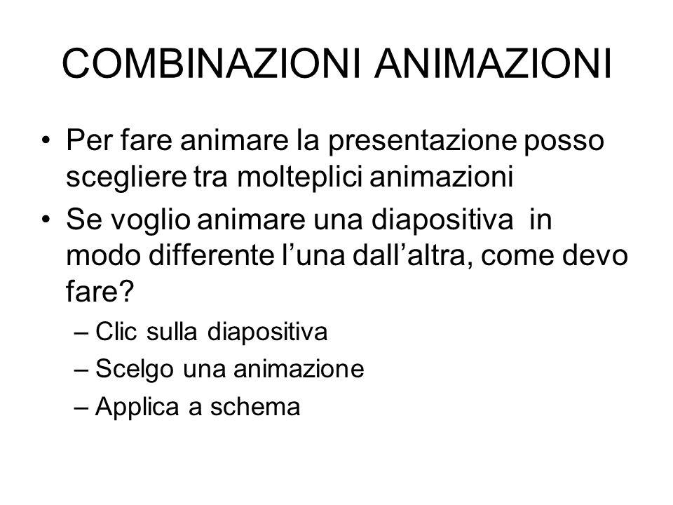 COMBINAZIONI ANIMAZIONI Per fare animare la presentazione posso scegliere tra molteplici animazioni Se voglio animare una diapositiva in modo differen