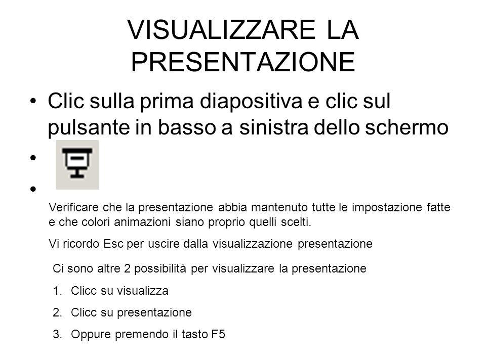 VISUALIZZARE LA PRESENTAZIONE Clic sulla prima diapositiva e clic sul pulsante in basso a sinistra dello schermo Verificare che la presentazione abbia
