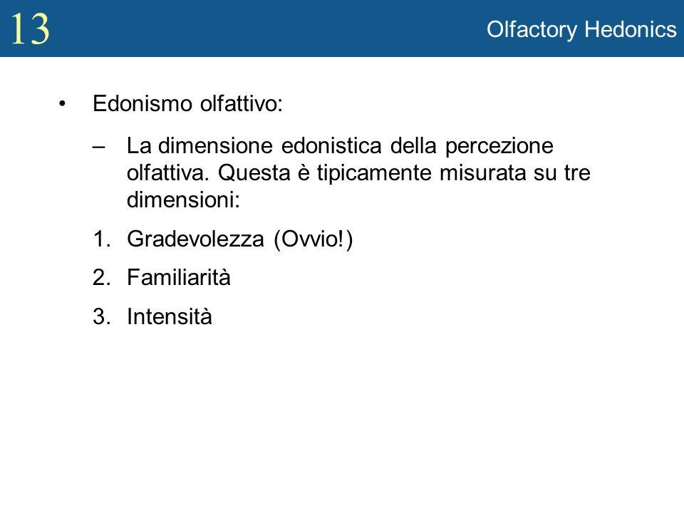 13 Olfactory Hedonics Edonismo olfattivo: –La dimensione edonistica della percezione olfattiva. Questa è tipicamente misurata su tre dimensioni: 1.Gra