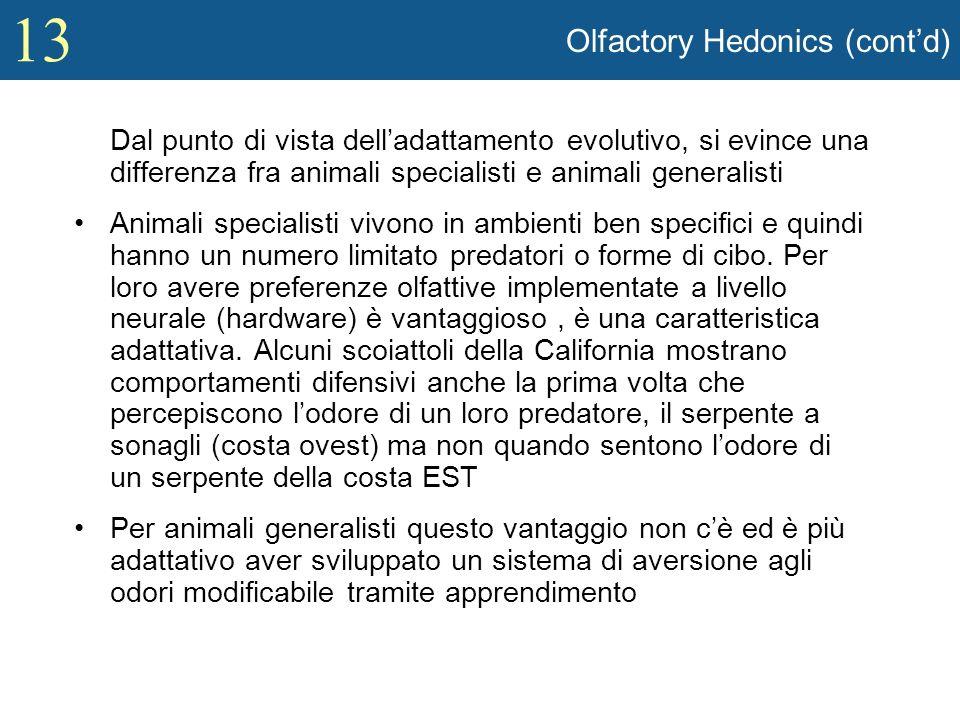13 Olfactory Hedonics (contd) Dal punto di vista delladattamento evolutivo, si evince una differenza fra animali specialisti e animali generalisti Ani