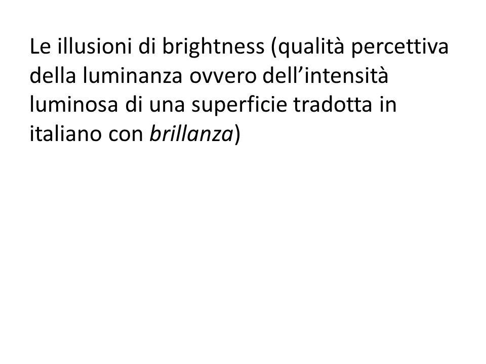 Le illusioni di brightness (qualità percettiva della luminanza ovvero dellintensità luminosa di una superficie tradotta in italiano con brillanza)