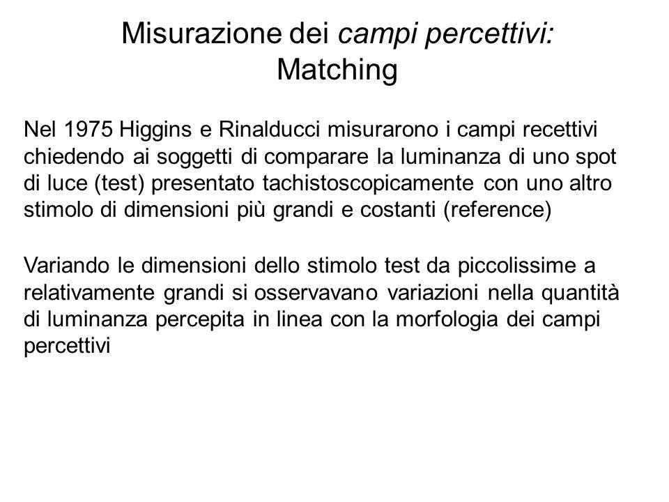 Misurazione dei campi percettivi: Matching Nel 1975 Higgins e Rinalducci misurarono i campi recettivi chiedendo ai soggetti di comparare la luminanza