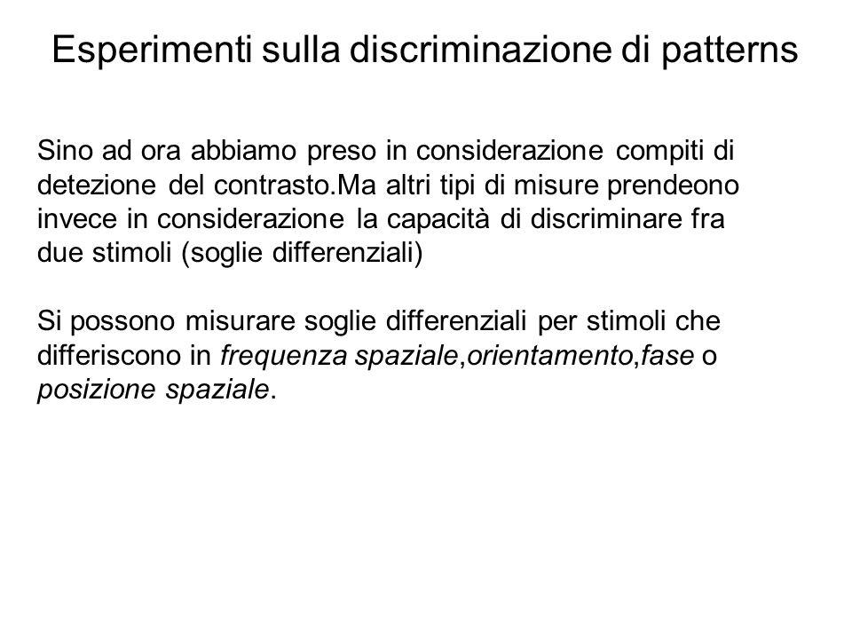 Esperimenti sulla discriminazione di patterns Sino ad ora abbiamo preso in considerazione compiti di detezione del contrasto.Ma altri tipi di misure p