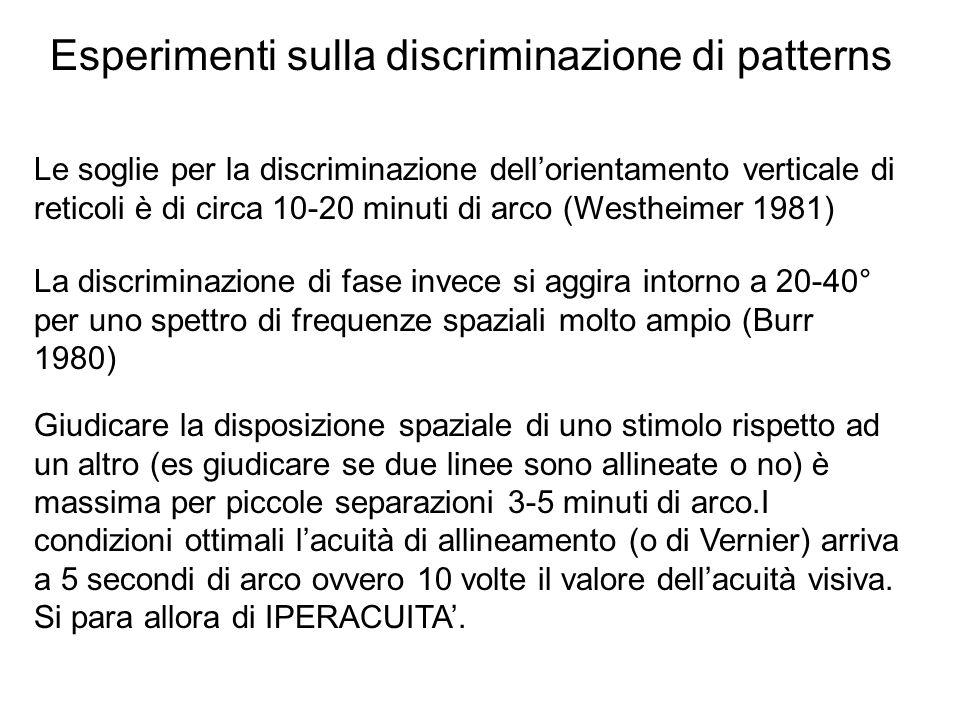 Le soglie per la discriminazione dellorientamento verticale di reticoli è di circa 10-20 minuti di arco (Westheimer 1981) Esperimenti sulla discrimina