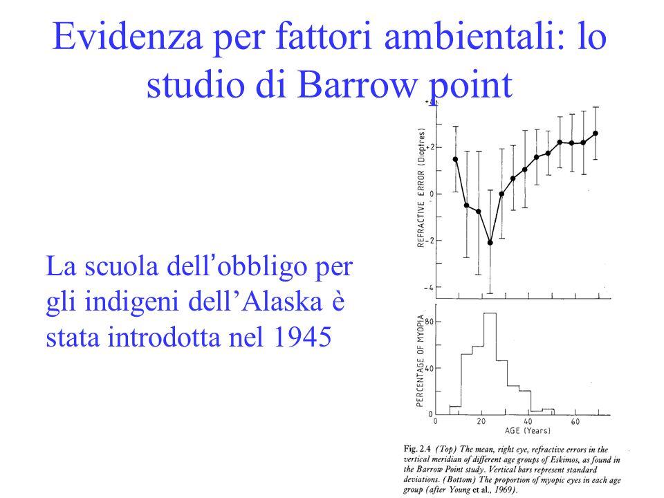 Evidenza per fattori ambientali: lo studio di Barrow point La scuola dell obbligo per gli indigeni dellAlaska è stata introdotta nel 1945