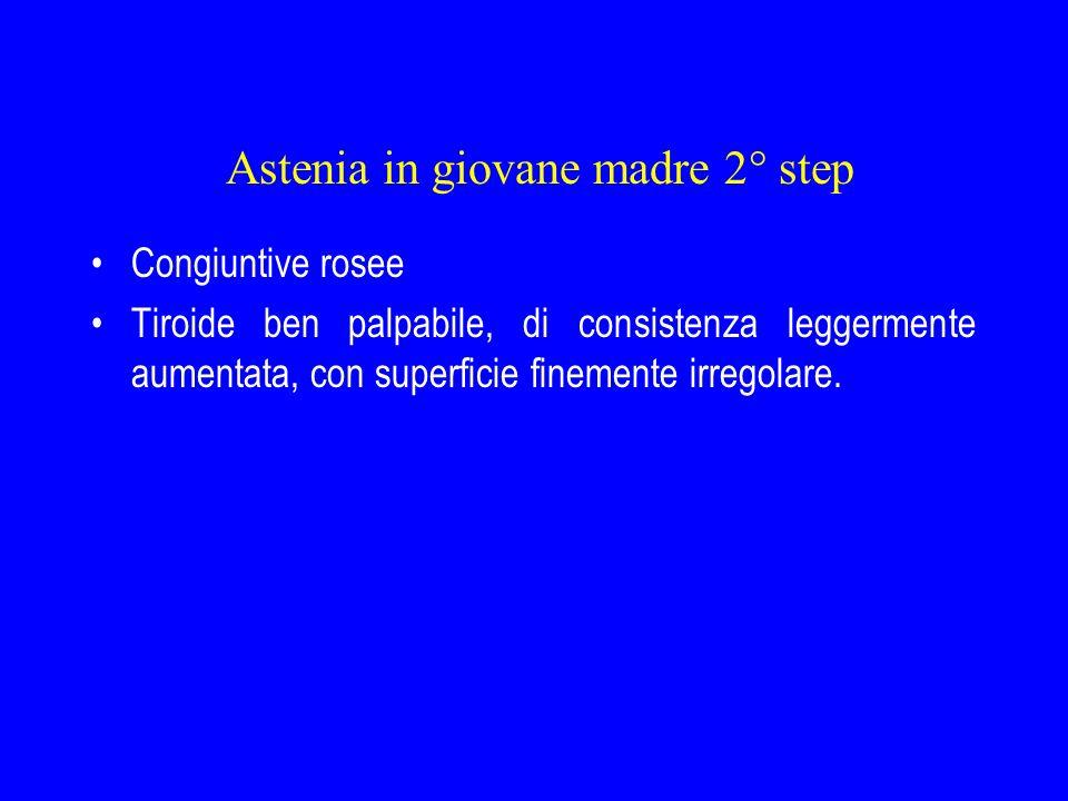 Astenia in giovane madre 2° step Congiuntive rosee Tiroide ben palpabile, di consistenza leggermente aumentata, con superficie finemente irregolare.