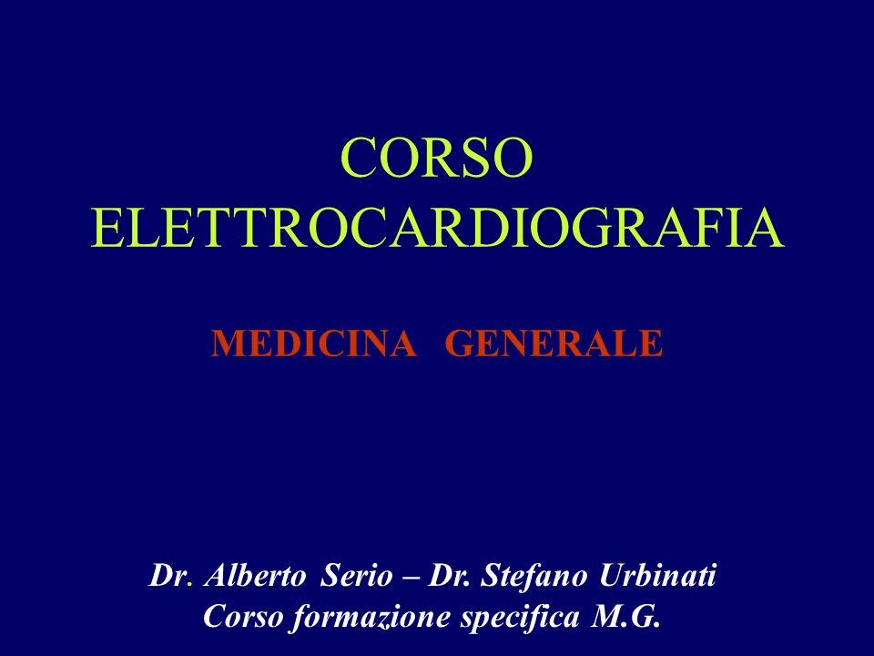 CORSO ELETTROCARDIOGRAFIA MEDICINA GENERALE Dr. Alberto Serio – Dr. Stefano Urbinati Corso formazione specifica M.G.
