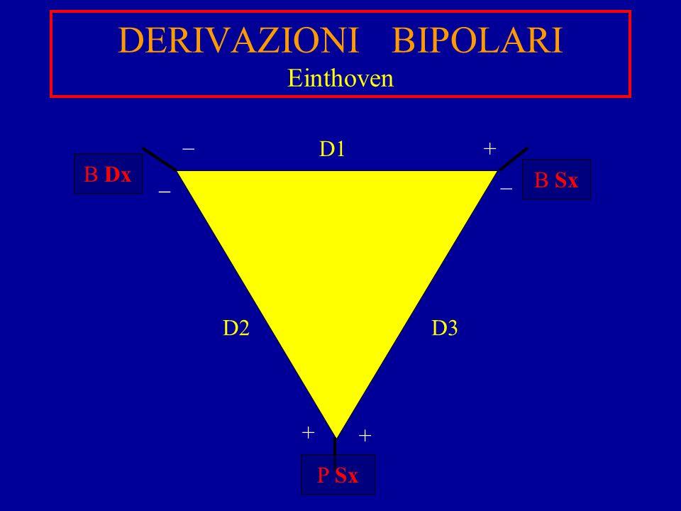 DERIVAZIONI BIPOLARI Einthoven D1 D3D2 B Dx B Sx P Sx + + _ _ + _
