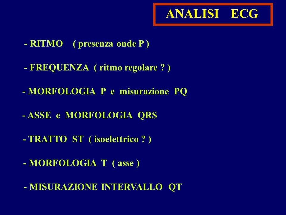 ANALISI ECG - RITMO ( presenza onde P ) - FREQUENZA ( ritmo regolare ? ) - MORFOLOGIA P e misurazione PQ - ASSE e MORFOLOGIA QRS - TRATTO ST ( isoelet