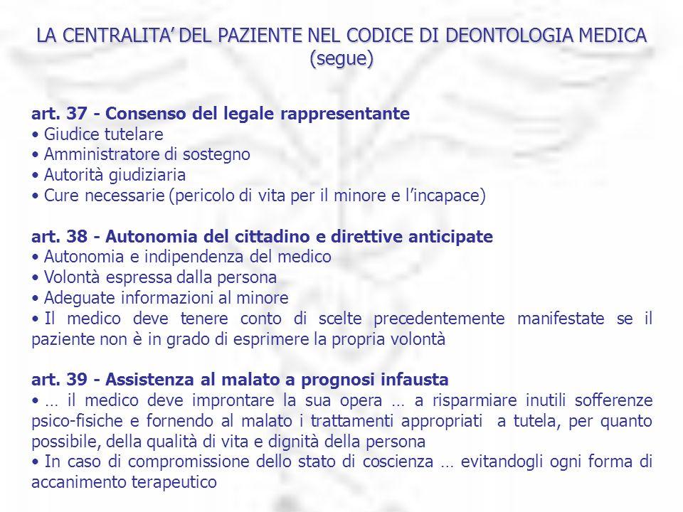 LA CENTRALITA DEL PAZIENTE NEL CODICE DI DEONTOLOGIA MEDICA (segue) art. 37 - Consenso del legale rappresentante Giudice tutelare Amministratore di so