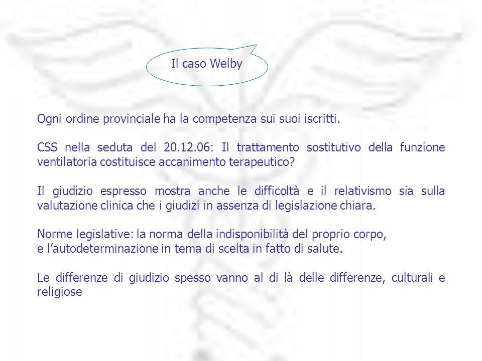 Il caso Welby Ogni ordine provinciale ha la competenza sui suoi iscritti. CSS nella seduta del 20.12.06: Il trattamento sostitutivo della funzione ven