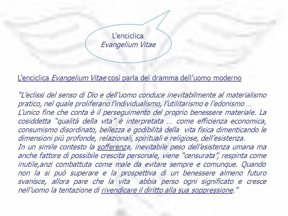 Lenciclica Evangelium Vitae Lenciclica Evangelium Vitae così parla del dramma delluomo moderno Leclissi del senso di Dio e delluomo conduce inevitabil