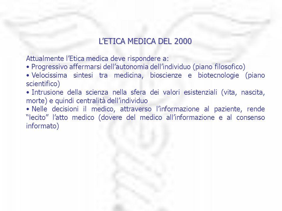 LETICA MEDICA DEL 2000 Attualmente lEtica medica deve rispondere a: Progressivo affermarsi dellautonomia dellindividuo (piano filosofico) Velocissima