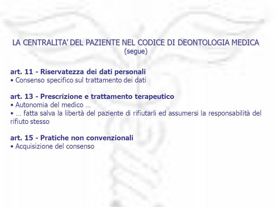 LA CENTRALITA DEL PAZIENTE NEL CODICE DI DEONTOLOGIA MEDICA (segue) art. 11 - Riservatezza dei dati personali Consenso specifico sul trattamento dei d