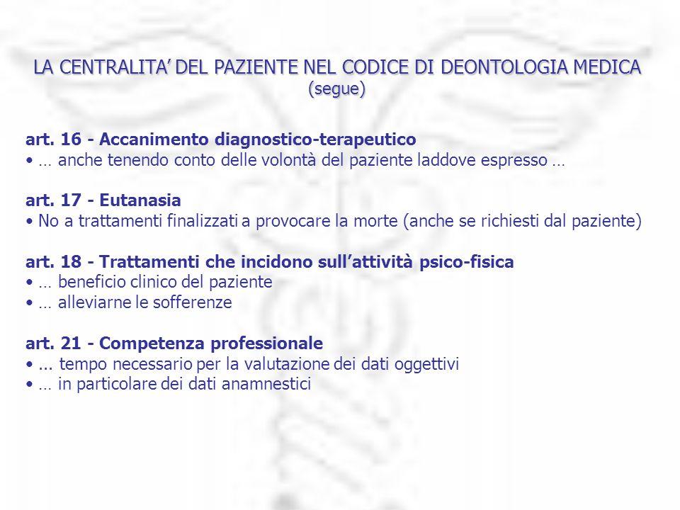 LA CENTRALITA DEL PAZIENTE NEL CODICE DI DEONTOLOGIA MEDICA (segue) art. 16 - Accanimento diagnostico-terapeutico … anche tenendo conto delle volontà