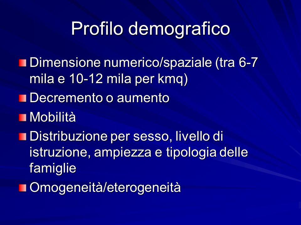 Profilo demografico Dimensione numerico/spaziale (tra 6-7 mila e 10-12 mila per kmq) Decremento o aumento Mobilità Distribuzione per sesso, livello di istruzione, ampiezza e tipologia delle famiglie Omogeneità/eterogeneità