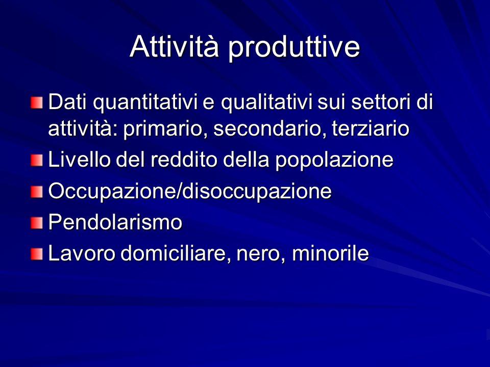 Attività produttive Dati quantitativi e qualitativi sui settori di attività: primario, secondario, terziario Livello del reddito della popolazione Occupazione/disoccupazionePendolarismo Lavoro domiciliare, nero, minorile