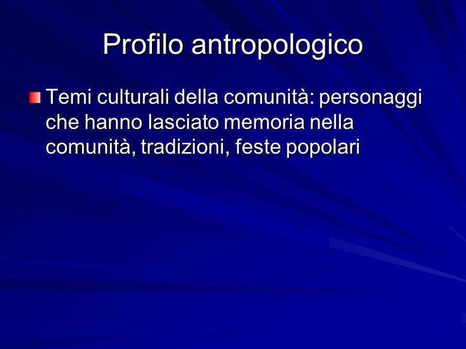 Profilo antropologico Temi culturali della comunità: personaggi che hanno lasciato memoria nella comunità, tradizioni, feste popolari