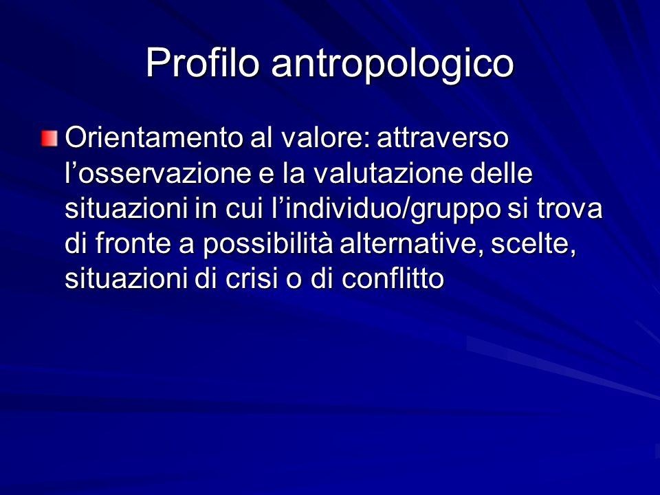Profilo antropologico Orientamento al valore: attraverso losservazione e la valutazione delle situazioni in cui lindividuo/gruppo si trova di fronte a possibilità alternative, scelte, situazioni di crisi o di conflitto