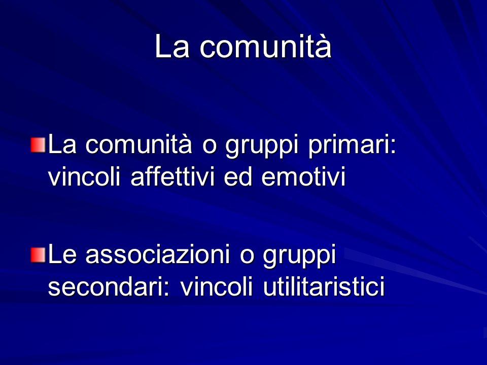La comunità La comunità o gruppi primari: vincoli affettivi ed emotivi Le associazioni o gruppi secondari: vincoli utilitaristici