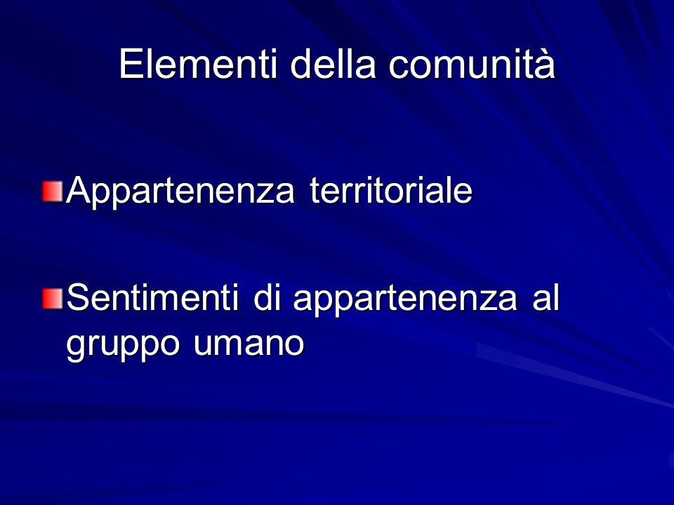 Elementi della comunità Appartenenza territoriale Sentimenti di appartenenza al gruppo umano