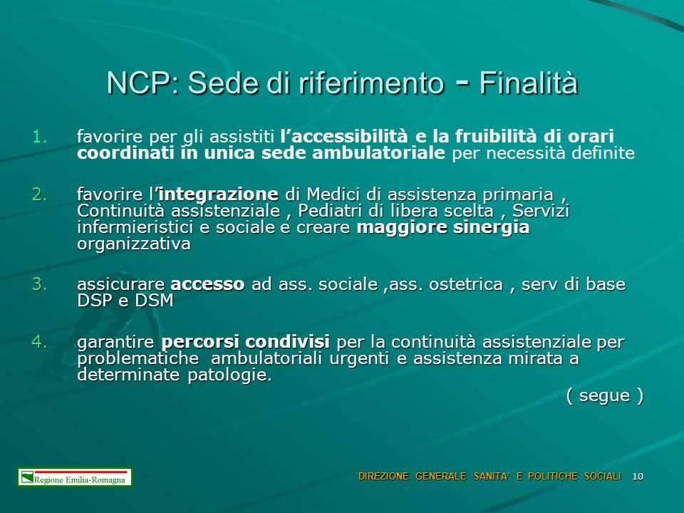10 NCP: Sede di riferimento - Finalità 1. 1.favorire per gli assistiti laccessibilità e la fruibilità di orari coordinati in unica sede ambulatoriale