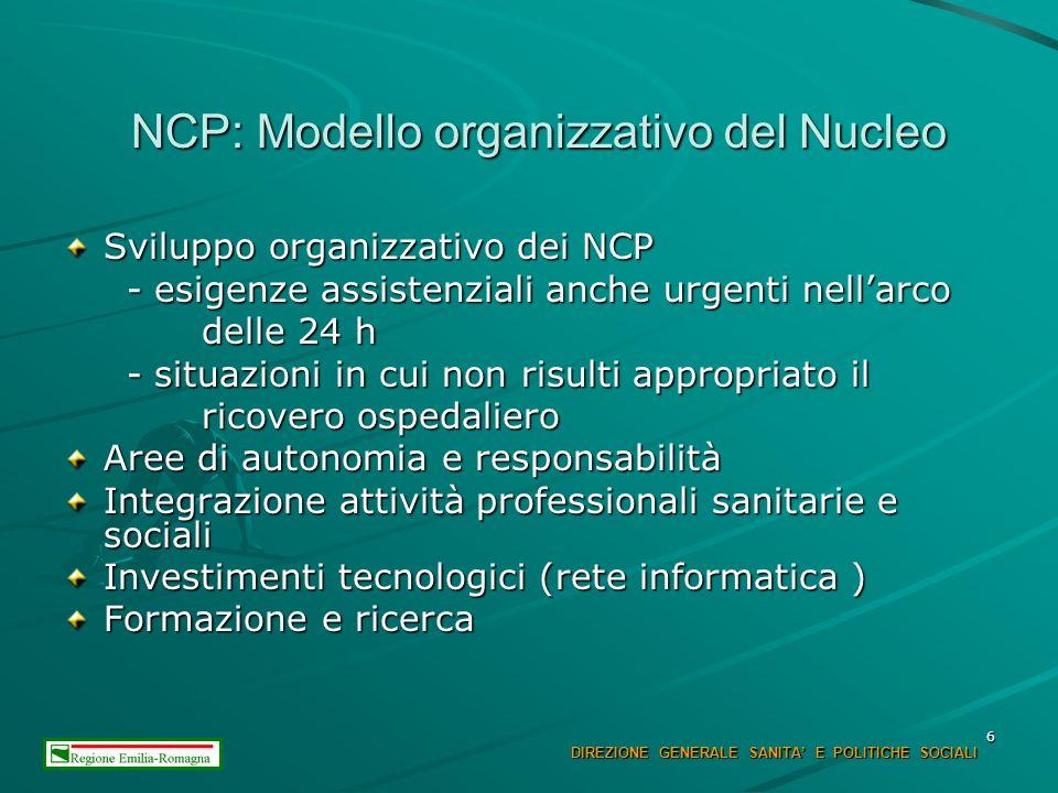 6 NCP: Modello organizzativo del Nucleo Sviluppo organizzativo dei NCP - esigenze assistenziali anche urgenti nellarco - esigenze assistenziali anche urgenti nellarco delle 24 h delle 24 h - situazioni in cui non risulti appropriato il - situazioni in cui non risulti appropriato il ricovero ospedaliero ricovero ospedaliero Aree di autonomia e responsabilità Integrazione attività professionali sanitarie e sociali Investimenti tecnologici (rete informatica ) Formazione e ricerca DIREZIONE GENERALE SANITA E POLITICHE SOCIALI