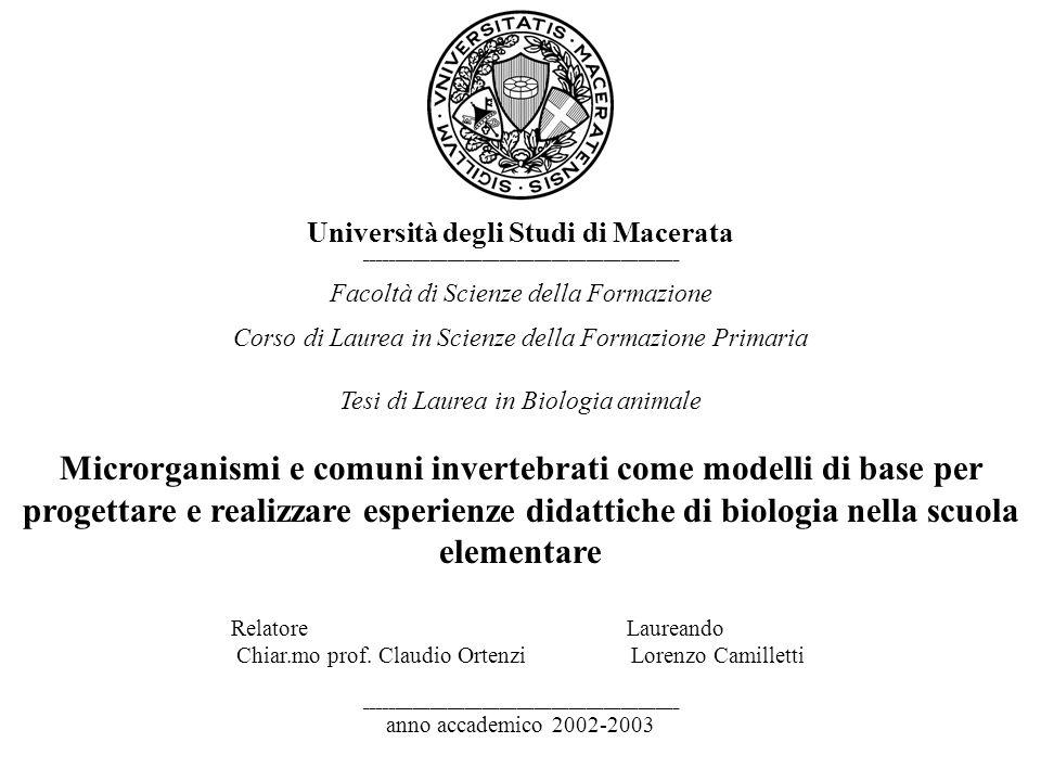 Università degli Studi di Macerata ______________________________________________________ Facoltà di Scienze della Formazione Corso di Laurea in Scien