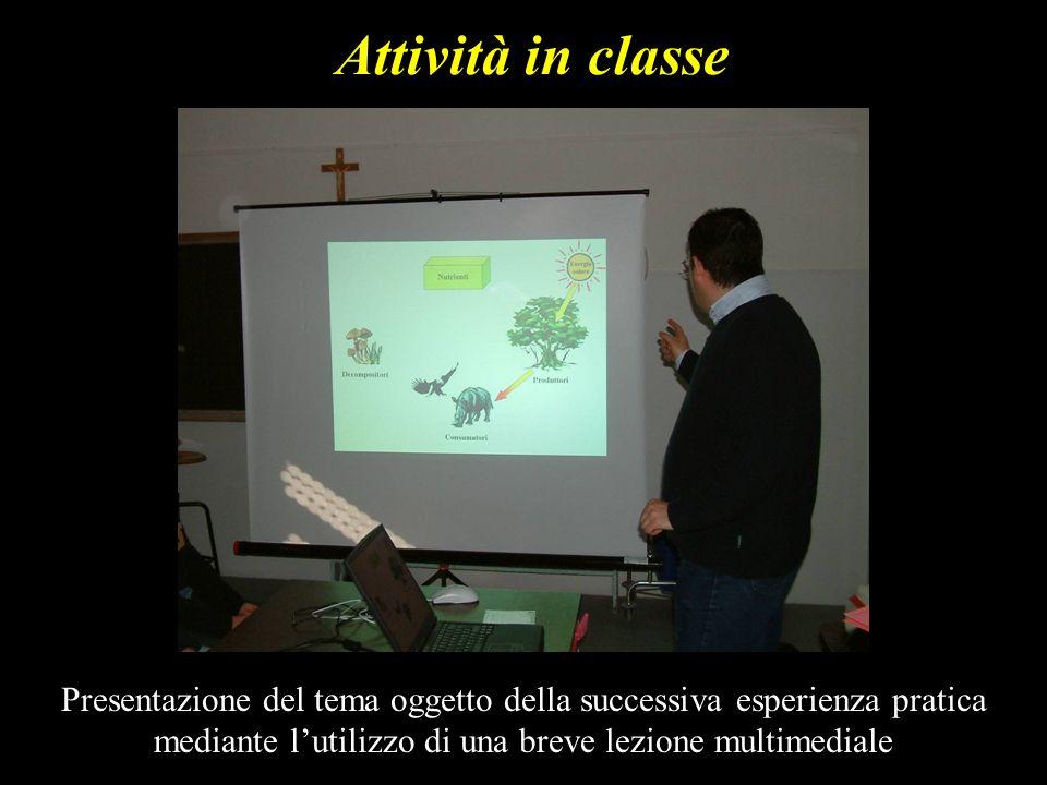 Attività in classe Presentazione del tema oggetto della successiva esperienza pratica mediante lutilizzo di una breve lezione multimediale