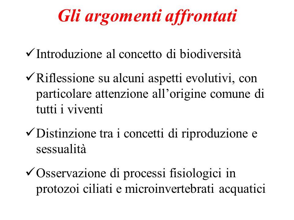 Gli argomenti affrontati Introduzione al concetto di biodiversità Riflessione su alcuni aspetti evolutivi, con particolare attenzione allorigine comun