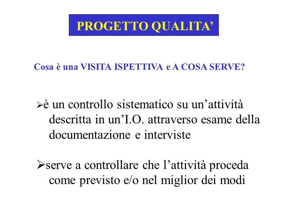PROGETTO QUALITA PROGRAMMAZIONE DELLE VISITE ISPETTIVE Individua con quale periodicità devono essere effettuate le V.I.I.
