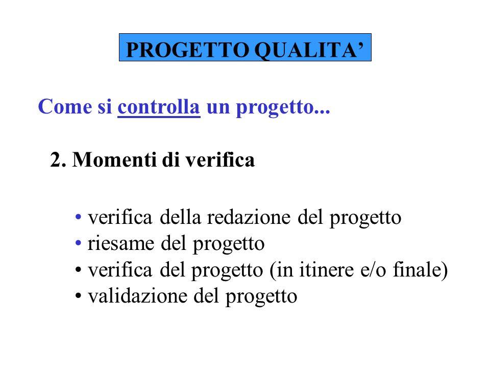 PROGETTO QUALITA 2. Momenti di verifica Come si controlla un progetto...