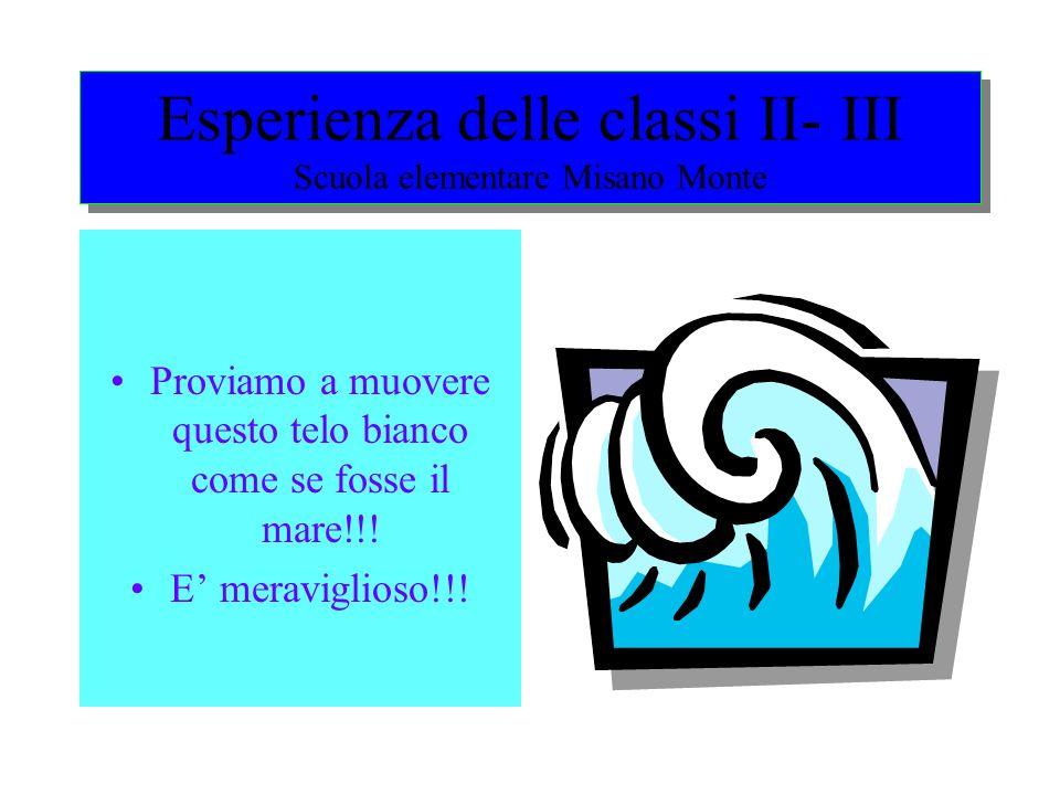 Esperienza delle classi II- III Scuola elementare Misano Monte Proviamo a muovere questo telo bianco come se fosse il mare!!.