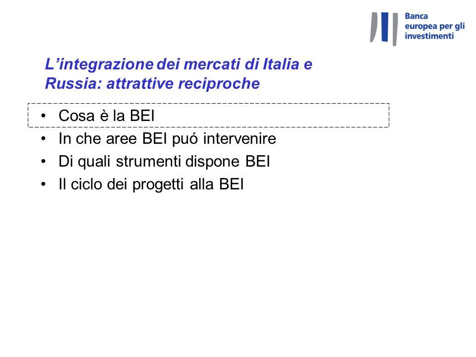 Lintegrazione dei mercati di Italia e Russia: attrattive reciproche Cosa è la BEI In che aree BEI puó intervenire Di quali strumenti dispone BEI Il ciclo dei progetti alla BEI