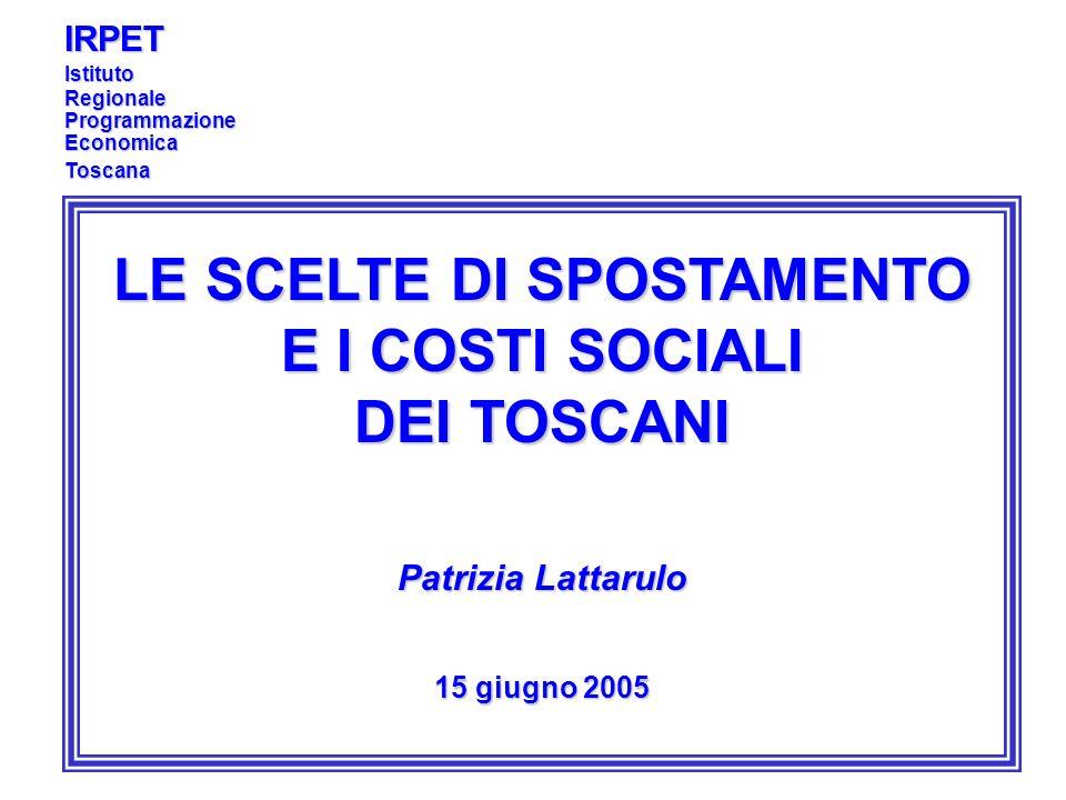 LE SCELTE DI SPOSTAMENTO E I COSTI SOCIALI DEI TOSCANI Patrizia Lattarulo 15 giugno 2005