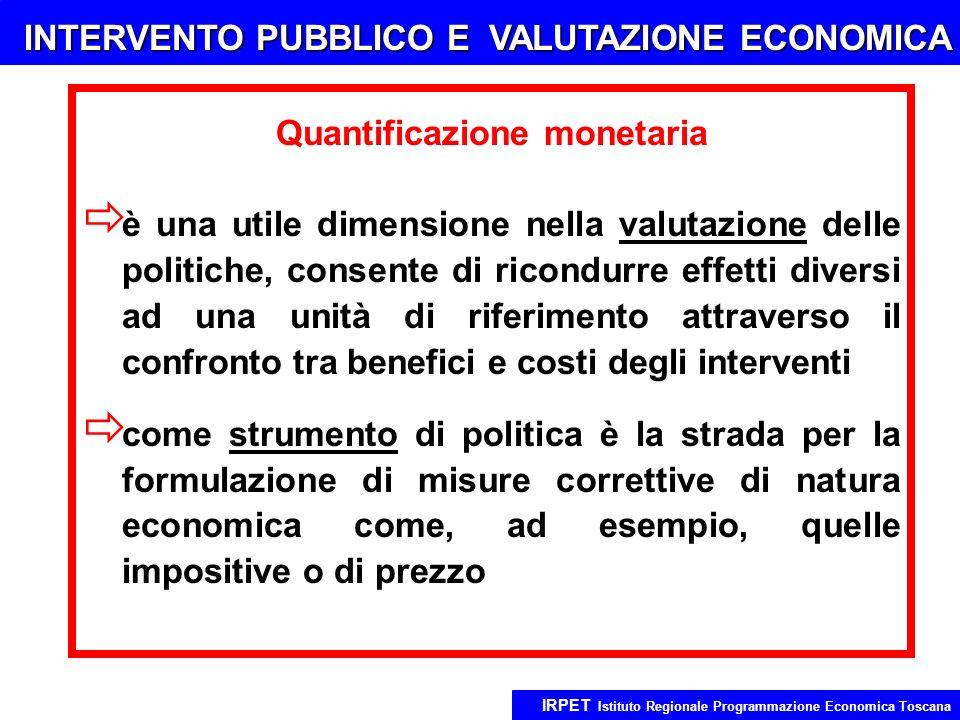 INTERVENTO PUBBLICO E VALUTAZIONE ECONOMICA IRPET Istituto Regionale Programmazione Economica Toscana Quantificazione monetaria è una utile dimensione